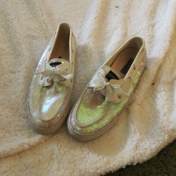 White Sequin Sperry Boat Shoes